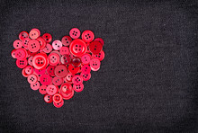 Red Buttons In Shape Of Heart