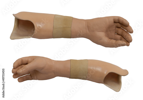 Two view of the prosthetic arm isolated on a white background Canvas Print
