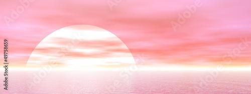 Poster Rose clair / pale Pink sunset - 3D render
