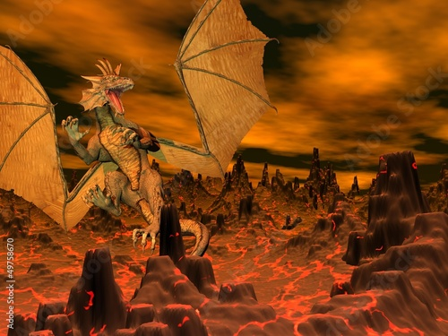 Dragon flight - 3D render