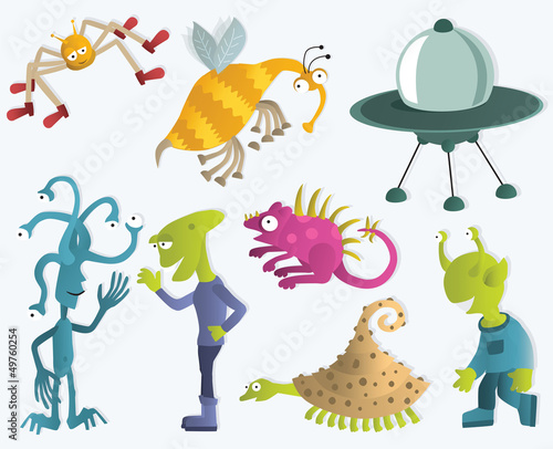 Aluminium Prints Creatures Funny creatures form another planets 2