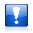 exclamation sign blue square glossy web icon on white background
