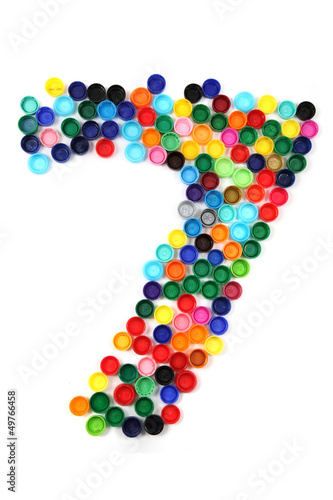7 - number from the plastic caps - Buy this stock photo and explore
