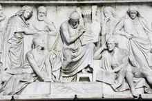 Marble Sculpture On Albert Memorial Celebrating Culture.