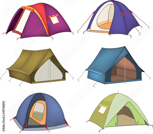 Canvas Prints Baby room Set of tourist tents