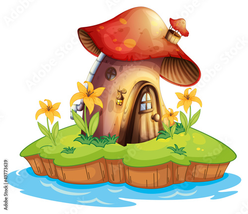 Poster Magic world A mushroom house