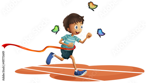 Tuinposter Vlinders A boy running with three butterflies