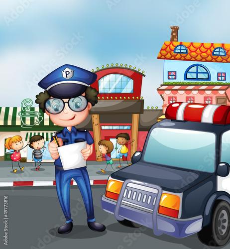 Keuken foto achterwand Cars A policeman at a busy street