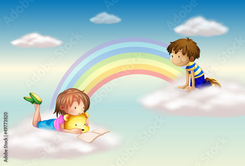 Foto auf Leinwand Regenbogen A rainbow with kids