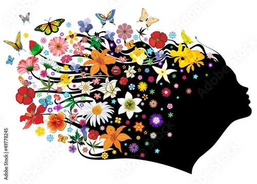 Foto op Canvas Bloemen vrouw Mother Nature Springtime-Madre Natura Primavera-Vector