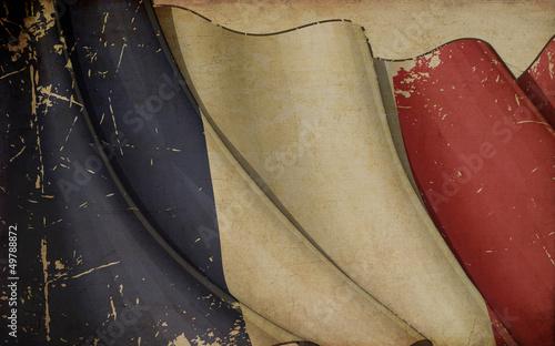 Fototapeta French Flag Old Paper