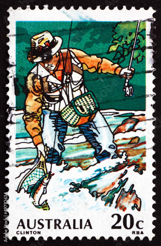 Keuken foto achterwand Art Studio Postage stamp Australia 1979 Trout Fishing, Sport Fishing