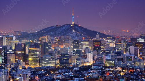 Seoul Skyline Canvas Print