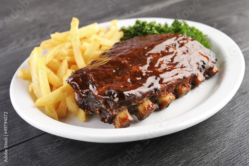 Fotografie, Obraz Grilled juicy barbecue pork ribs