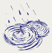 Rain Drops Rippling In Puddle. Doodle Style
