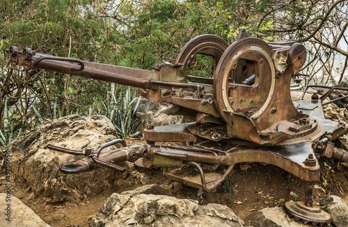 Photo  Vintage Machine Gun in the Woods - Mount Phou Si, Luang Prabang