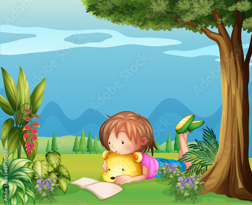 Wall Murals Bears A girl with a bear reading a book