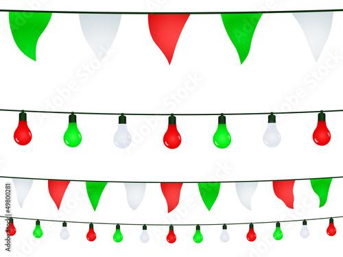 Valokuva  Ghirlande e bandierine in verde, bianco, rosso
