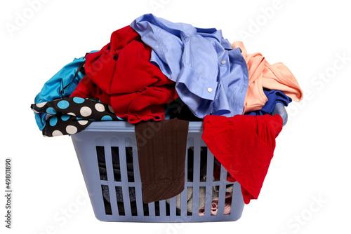 Fotografie, Obraz  Laundry Basket Of Clothes Isolated On White