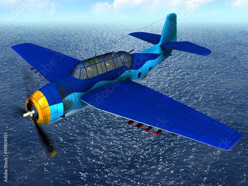 In de dag Vliegtuigen, ballon Torpedo bomber fly over ocean