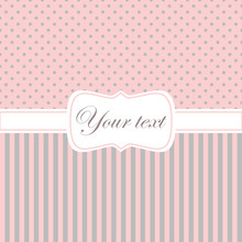 Pink Card Invitation With Polka Dots And Stripes