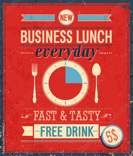 La pose en embrasure Affiche vintage Vintage Bussiness Lunch Poster. Vector illustration.