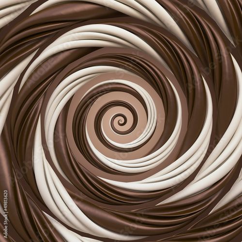 abstract chocolate cream spiral background