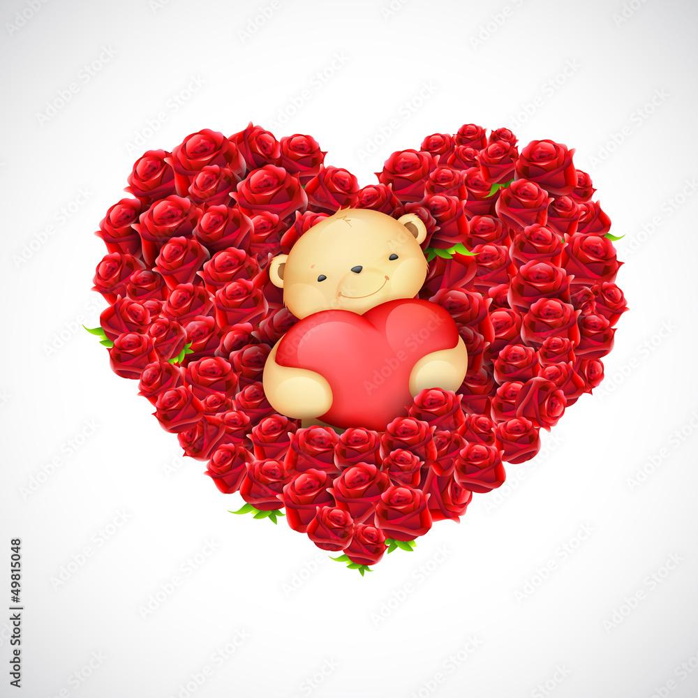 Foto-Lamellen (Lamellen ohne Schiene) - Teddy Bear Couple with Heart Balloon