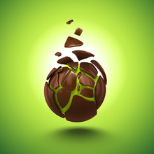 Abstract Chocolate Candy Broken Ball Isolated