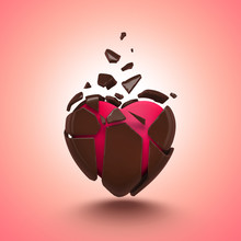 Abstract Chocolate Candy Broken Heart Isolated
