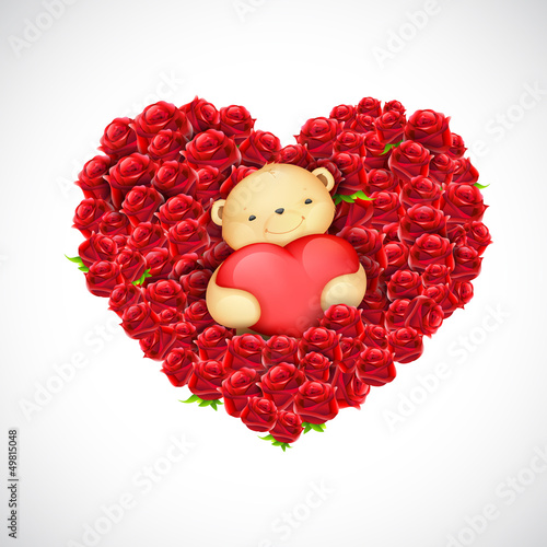 Foto-Vorhang - Teddy Bear Couple with Heart Balloon (von vectomart)