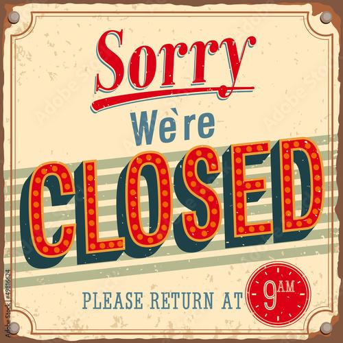 Vintage card - Sorry we're closed