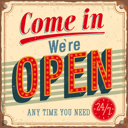 Poster  Vintage card - Come in we're Open.
