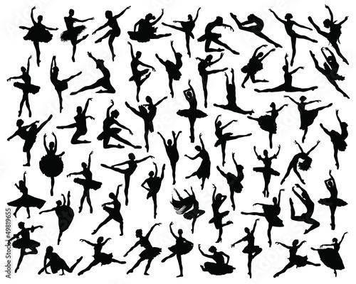 Fotografie, Tablou  Ballerina silhouette-vector