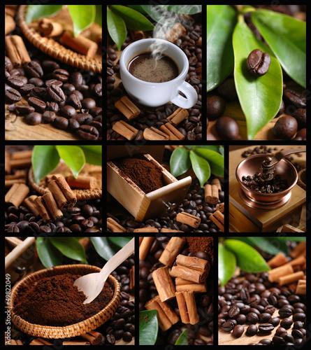 Deurstickers Koffiebonen composizione di nove foto a tema caffè