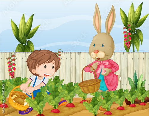 Papiers peints Ferme The gardener and the bunny