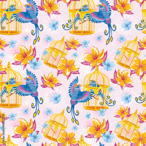 In de dag Vogels in kooien Dream seamless pattern with birds and golden cages