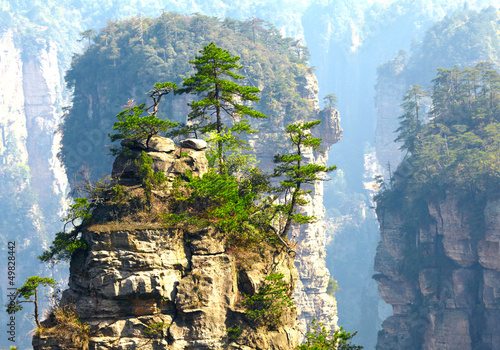 Poster Chine Zhangjiajie National Park, China. Avatar mountains