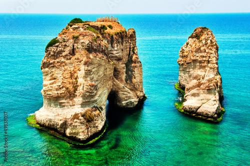 Naklejka premium Skała gołębi w Bejrucie