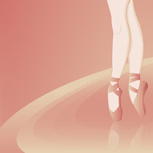 Pink Background With The Ballerina - Vector Illustration