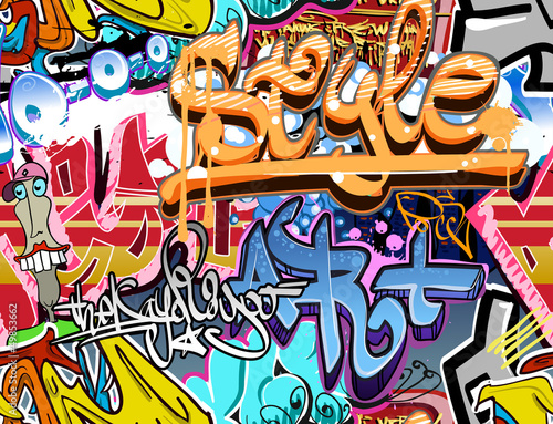 Poster Graffiti Graffiti wall. Urban art vector background. Seamless texture