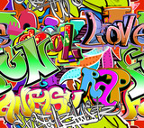 Fototapeta Teenage - Graffiti wall. Urban art vector background. Seamless pattern