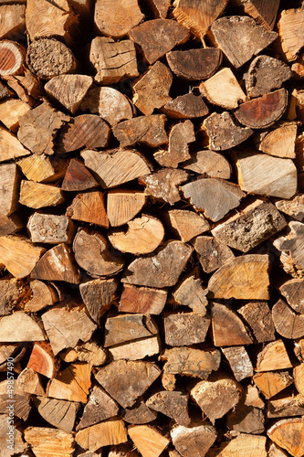 Poster Firewood texture firewood pile background