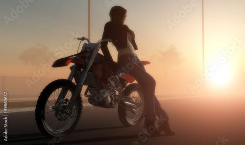 La pose en embrasure Motocyclette A girl and a motorcycle