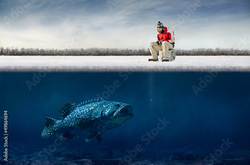 Tuinposter Vissen Ice fishing