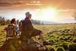 canvas print picture - senioren beim wandern im Sonnenuntergang / autumn hiking 18