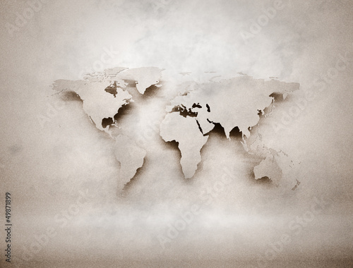Abstract 3d grunge world map