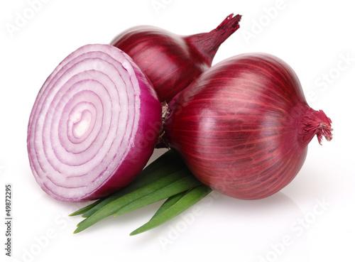 Fotografía  Red Onions and Fresh Scallion