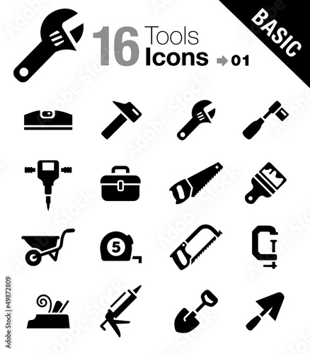 Basic - Tools and Construction icons Wallpaper Mural