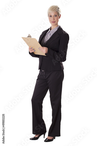 Fotografie, Obraz  Full length portrait of business woman with a clipboard.